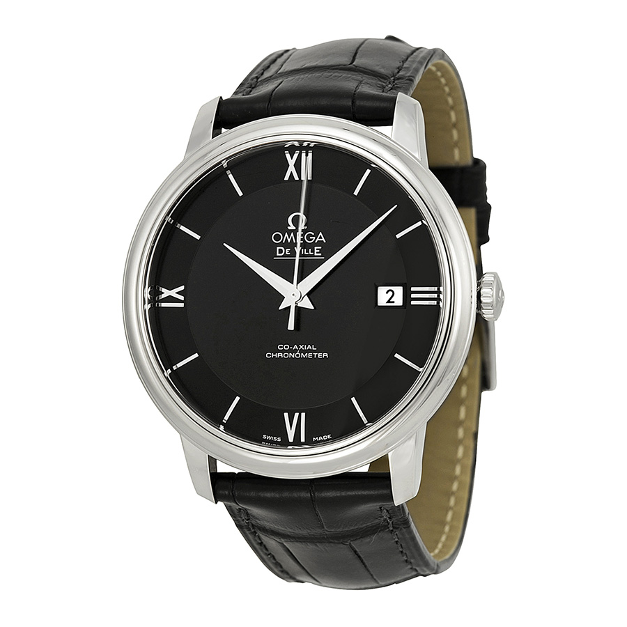 replica watch of Black Dial Black Leather Mens Watch 424.13.40.20.01.001