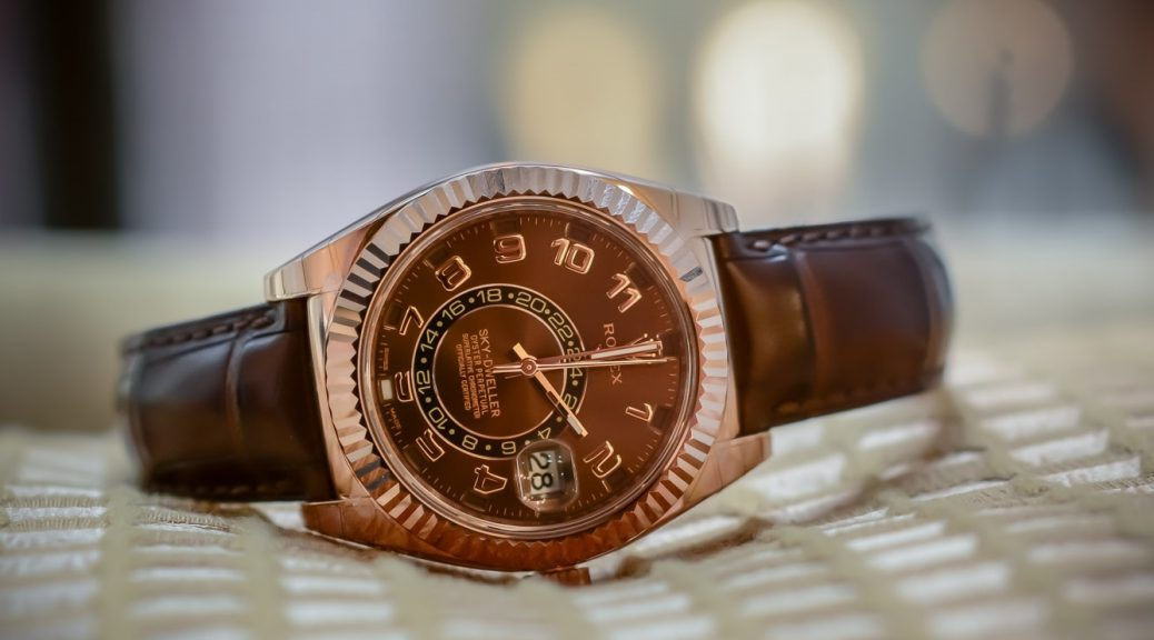 Swiss fake Rolex Sky-Dweller 328135 with chocolate dial