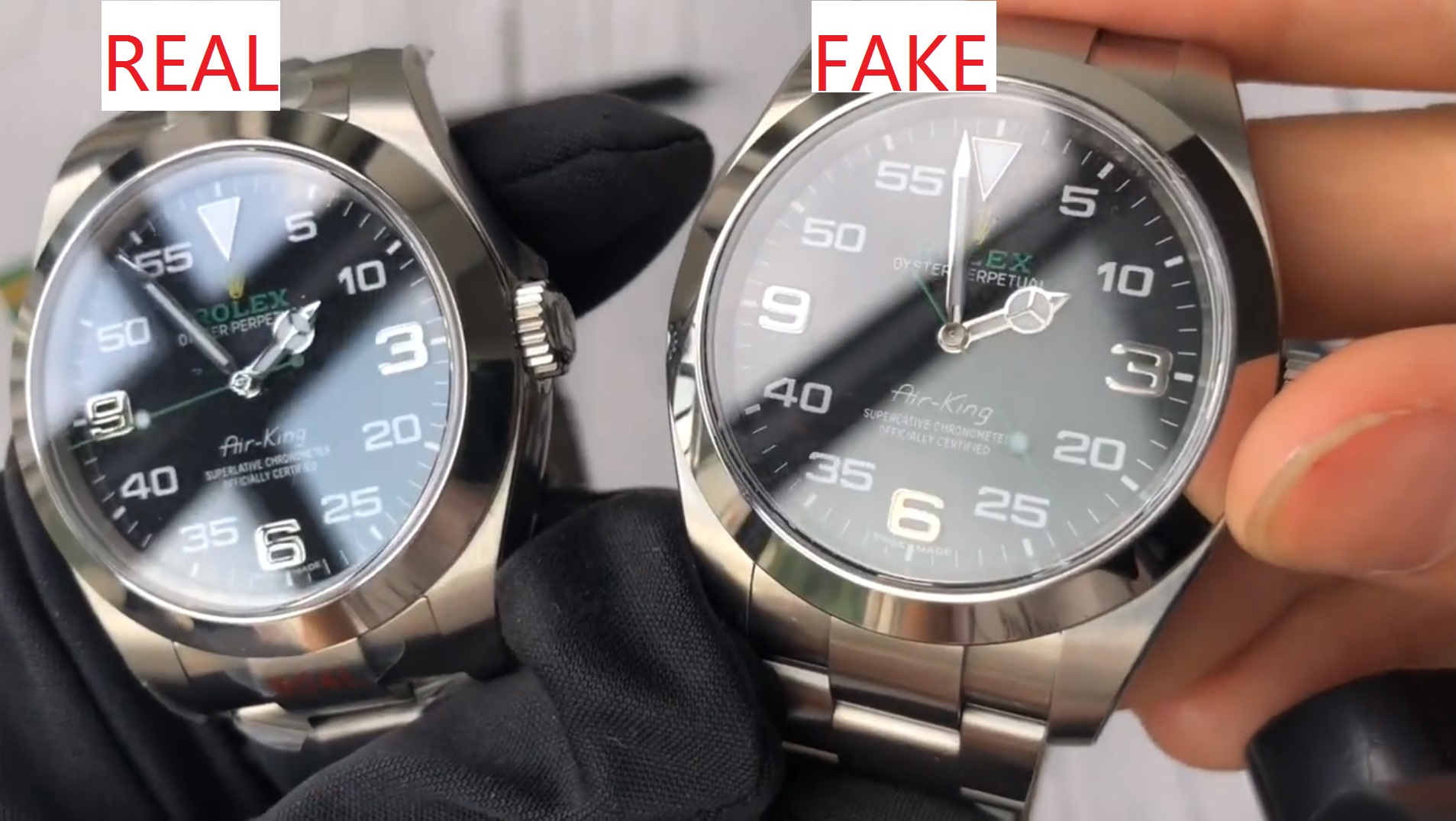 dial Of Real and fake Rolex Air King 116900