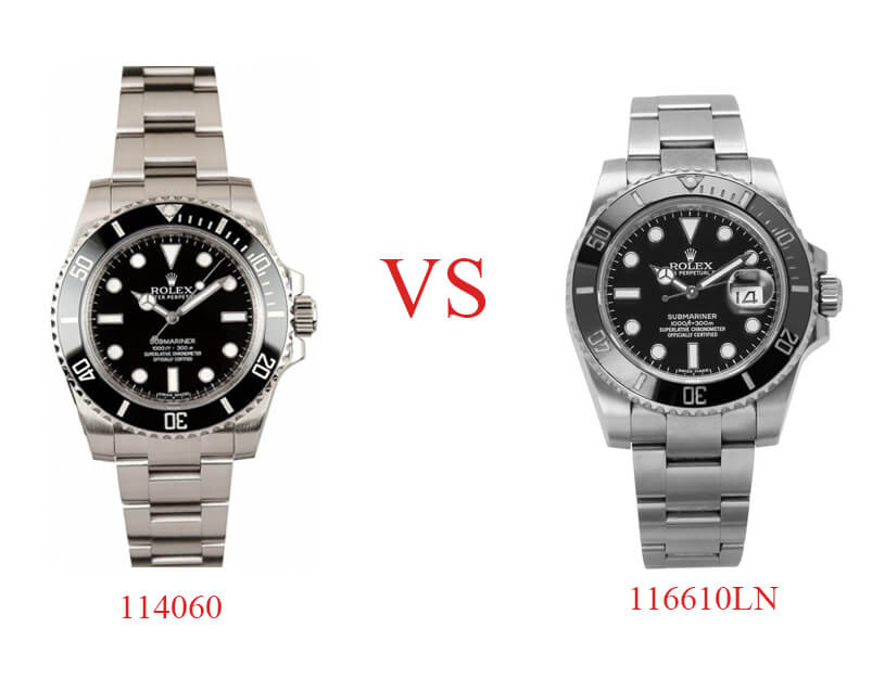 Comparison of Rolex Replica Submariner 114060 and 116610LN 2